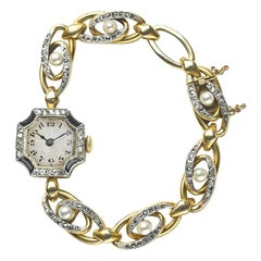 Ladies' Gold Diamond Pearl and Onyx French Manual Wind Cocktail Wristwatch