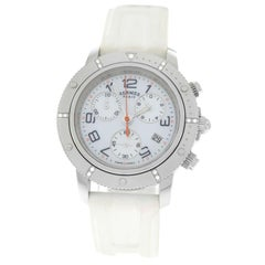 Ladies Hermès Clipper Steel Diamond Mother of Pearl Chrono Quartz Watch