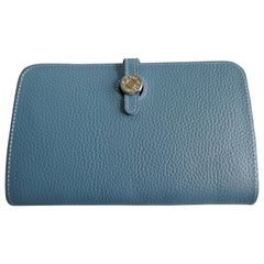Ladies Hermes Paris Blue/ Grey Togo Calfskin Dogon Duo Wallet with Purse