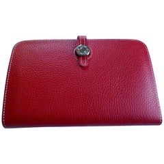 Ladies Hermes Paris Red Togo Calfskin Dogon Duo Wallet with Purse