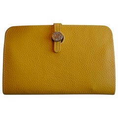 Ladies Hermes Paris Yellow Togo Calfskin Dogon Duo Wallet with Purse