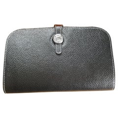 Ladies Hermes Shiny Black Togo Calfskin Dogon Duo Wallet with Purse