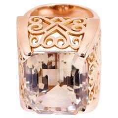 Ladies Large Yellow Gold Ornately Designed Topaz Ring