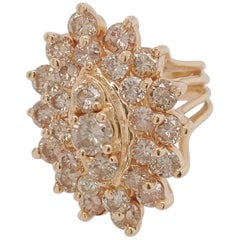 Ladies Marquise Shaped Round Diamonds Cluster Fashion Ring 14 Karat Yellow Gold