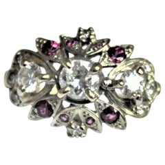 Ladies Midcentury 14-Karat Yellow Gold Cluster Ring with Diamonds & Rubies