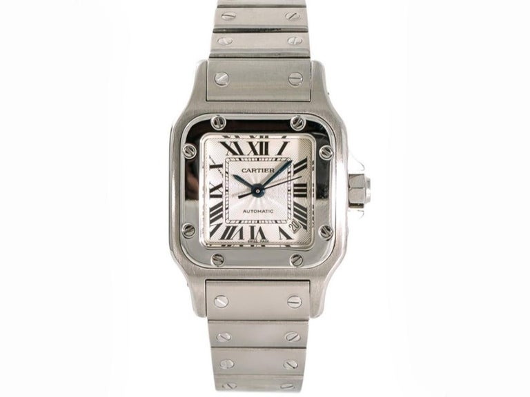 Modern  Mid Size Cartier Watch, Stainless Steel, Santos Galbee Model 2423 For Sale