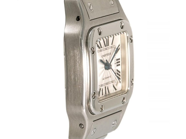 Round Cut  Mid Size Cartier Watch, Stainless Steel, Santos Galbee Model 2423 For Sale