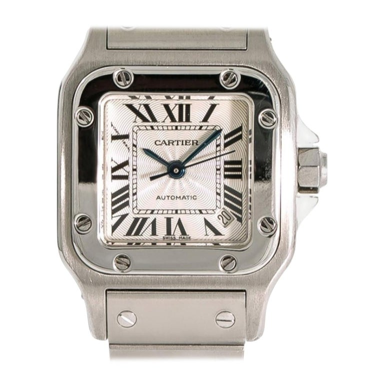 Mid Size Cartier Watch, Stainless Steel, Santos Galbee Model 2423 For Sale