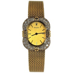 Ladies Midcentury Gold, Dress Rolex with Diamond Encrusted Case