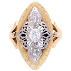 Ladies Midcentury Two-Tone Diamond Shield Ring
