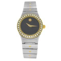 Ladies Movado Steel Yellow Gold Diamond Quartz Watch