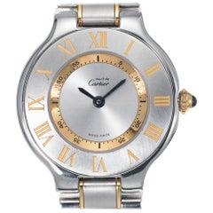 Ladies Must De Cartier Two-Tone Steel Yellow Gold Plate Wristwatch