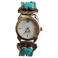 Ladies Navajo American Indian 925 Silver Heart Turquoise Watch, Signed, Like New