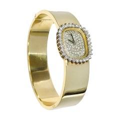 Ladies Omega 14 Karat Diamond Bangle Watch
