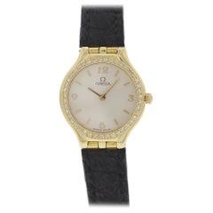 Ladies Omega 18 Karat Yellow Gold Diamond Bezel Watch