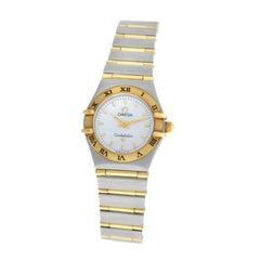 Ladies Omega Constellation Full Bar 18 Karat Gold Mother of Pearl Quartz Watch