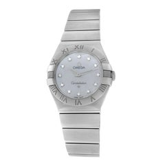 Ladies Omega Constellation Steel Mother of Pearl Diamond Quartz Watch