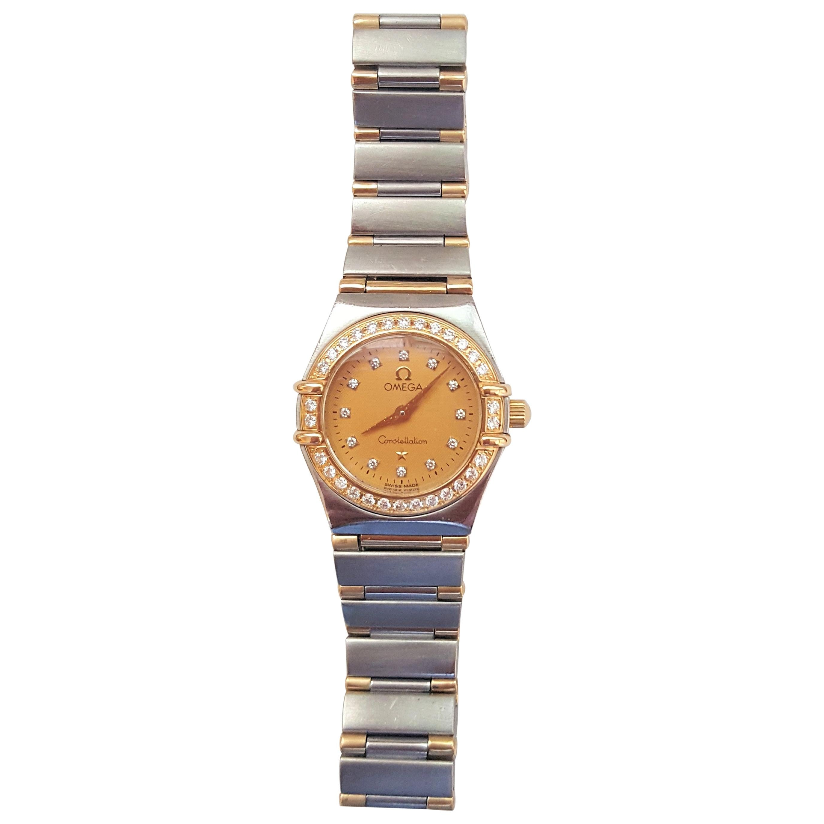Ladies Omega Constellation Watch, 18kt Yellow Gold and Stainless Steel