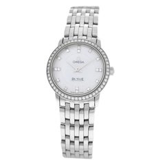 Ladies Omega DeVille Quartz Diamond Mother of Pearl Stainless Steel Watch