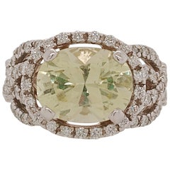 Ladies Oval Green Beryl and Diamond Woven Style Ring in 14 Karat White Gold