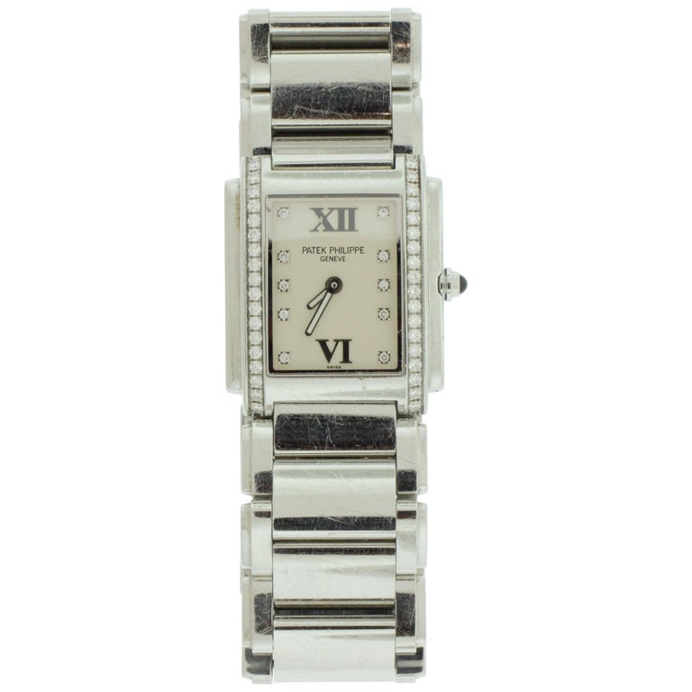 Ladies Patek Philippe Stainless Steel and Diamond Watch For Sale