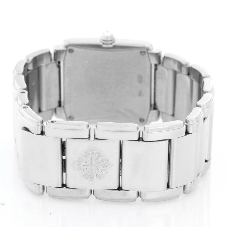 Ladies Patek Philippe Twenty-4 18k White Gold & Diamond Watch 4910/20G In Excellent Condition In Dallas, TX
