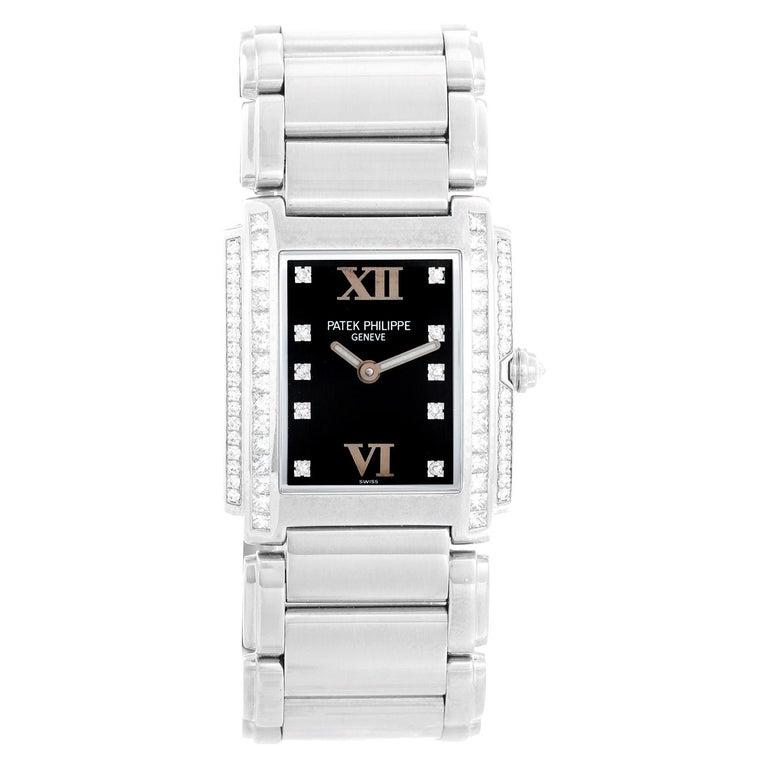 Ladies Patek Philippe Twenty-4 18k White Gold & Diamond Watch 4910/20G