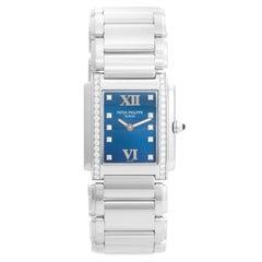 Ladies Patek Philippe Twenty-4 Watch Stainless Steel Blue Dial Watch 4910/10A