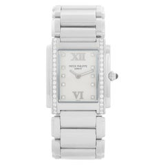 Ladies Patek Philippe Twenty-4 Watch Stainless Steel White Dial Watch 4910/10A