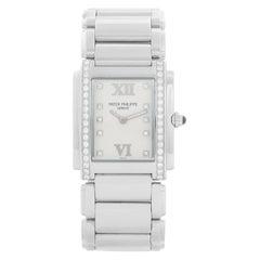 Ladies Patek Philippe Twenty-4 Watch Stainless Steel White Dial Watch 4910/10A