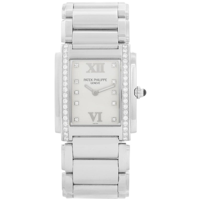 Ladies Patek Philippe Twenty-4 Watch Stainless Steel White Dial Watch 4910/10A For Sale