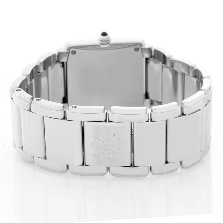 Ladies Patek Philippe Twenty-4 Watch Stainless Steel White Dial Watch 4910 In Excellent Condition For Sale In Dallas, TX