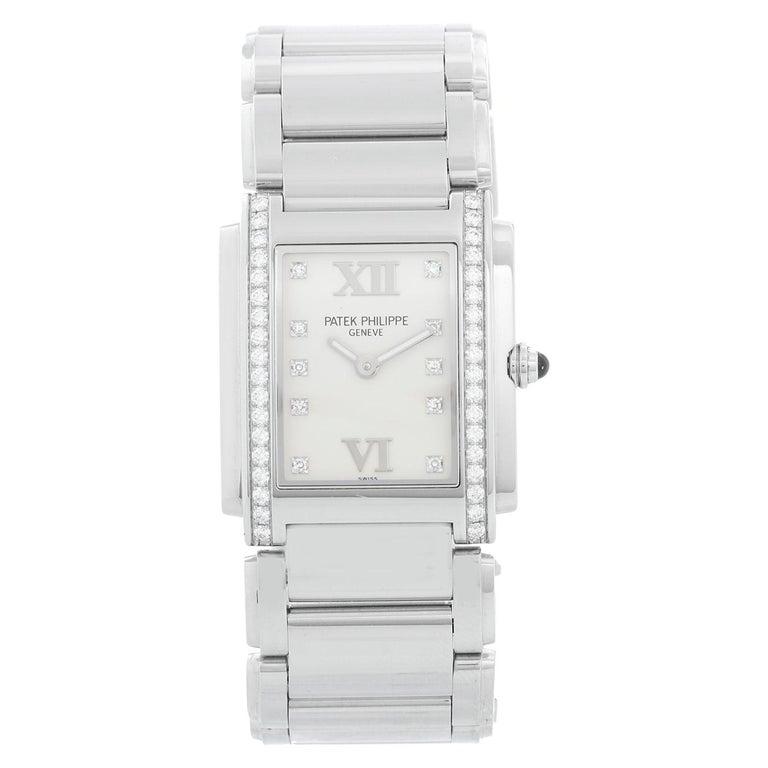 Ladies Patek Philippe Twenty-4 Watch Stainless Steel White Dial Watch 4910 For Sale