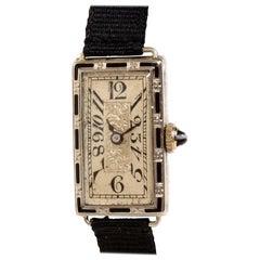 Ladies Patria Art Deco 18 Karat Gold Watch, Enamel Inlay & Carved Filigreed Case