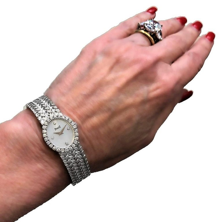 Ladies Piaget Petite Mother of Pearl Diamond Dial, White Gold Woven Band Watch For Sale 5
