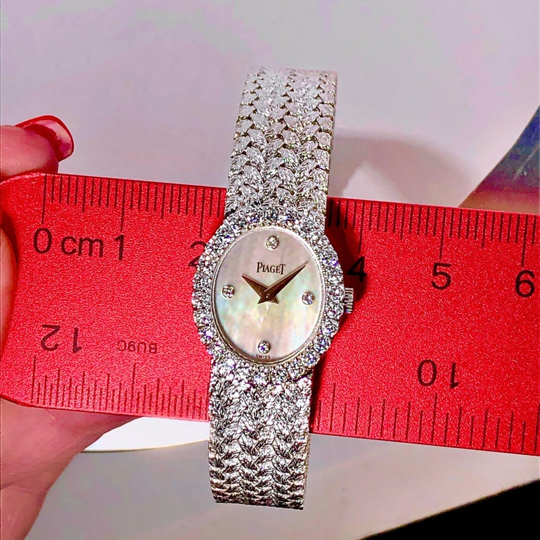Ladies Piaget Petite Mother of Pearl Diamond Dial, White Gold Woven Band Watch For Sale 1