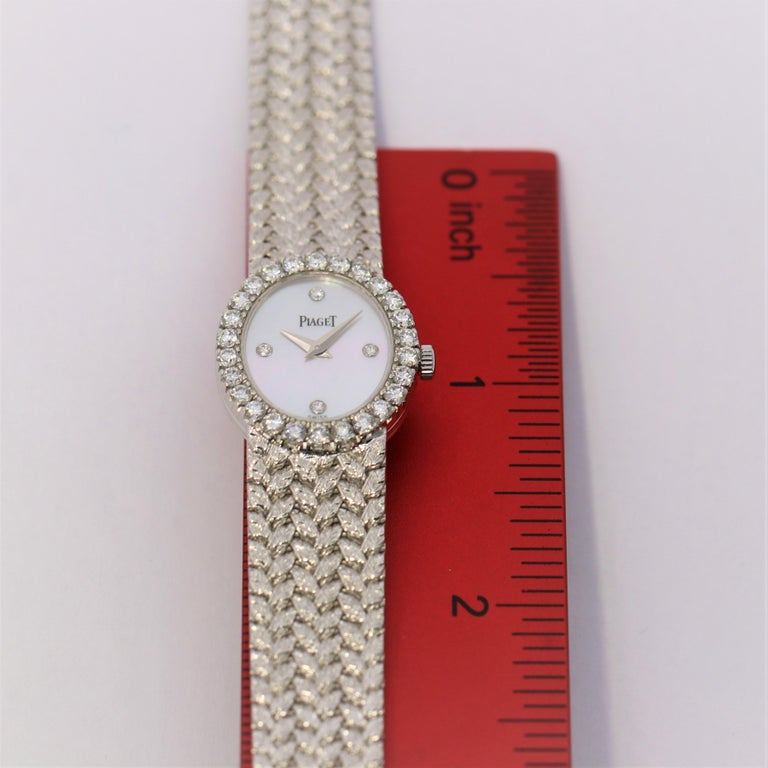 Ladies Piaget Petite Mother of Pearl Diamond Dial, White Gold Woven Band Watch For Sale 2