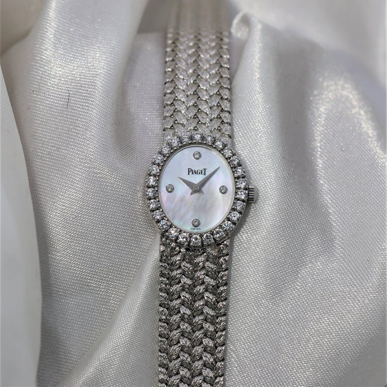 Ladies Piaget Petite Mother of Pearl Diamond Dial, White Gold Woven Band Watch For Sale 3