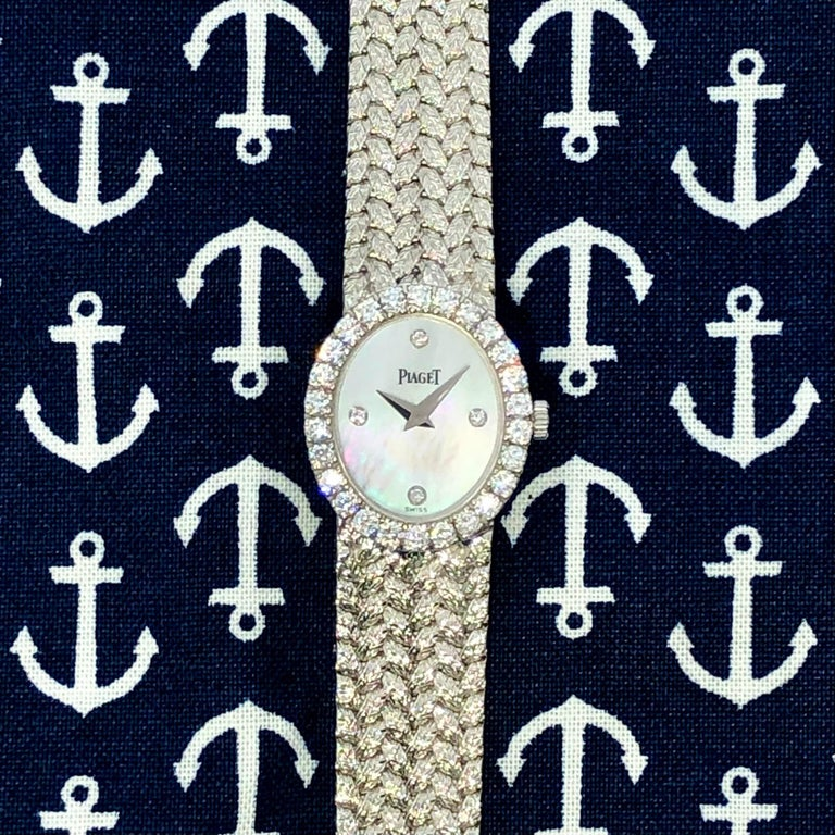Ladies Piaget Petite Mother of Pearl Diamond Dial, White Gold Woven Band Watch For Sale 4