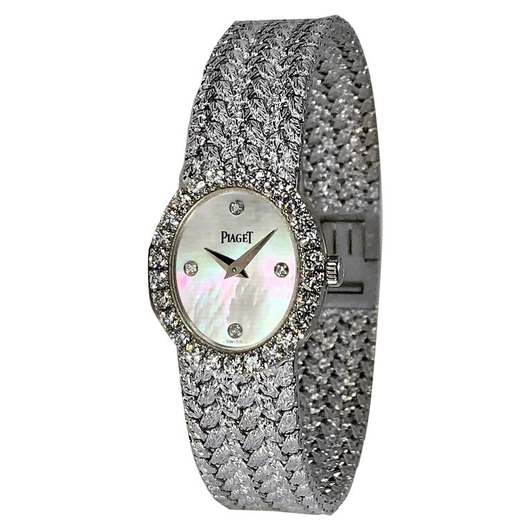 Ladies Piaget Petite Mother of Pearl Diamond Dial, White Gold Woven Band Watch For Sale