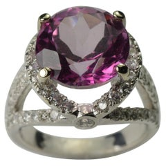 Ladies Pink Topaz and Diamond Ring 14 Karat White Gold 9.30 Carat H-I SI