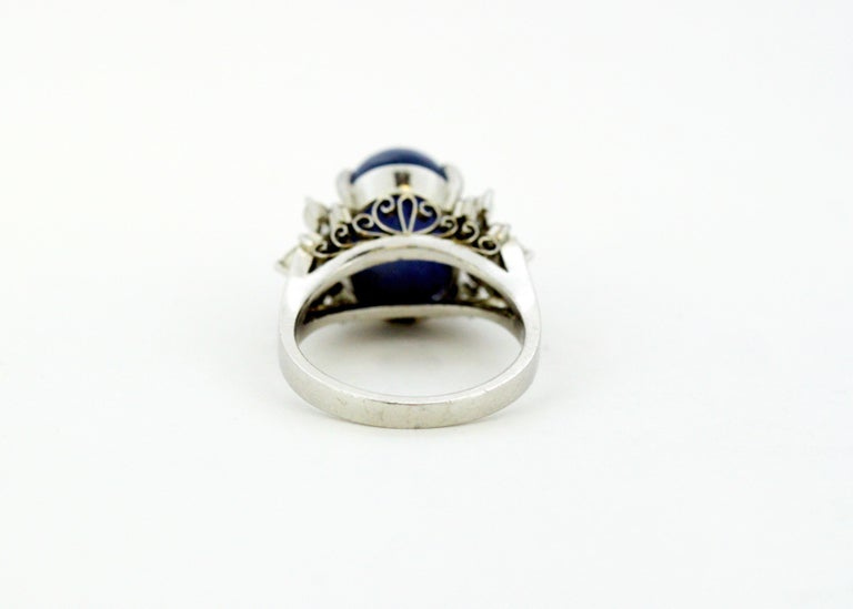 Ladies Platinum Cabochon Star Sapphire Ring with Diamonds For Sale 6