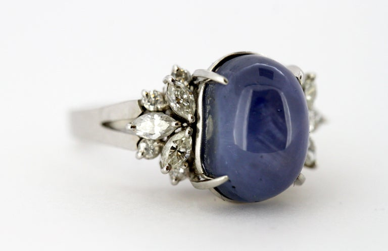 Ladies Platinum Cabochon Star Sapphire Ring with Diamonds For Sale 9
