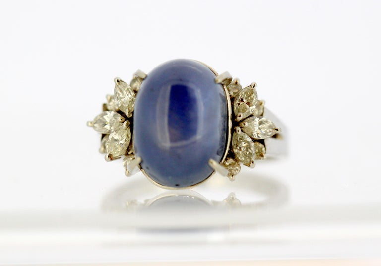 Women's Ladies Platinum Cabochon Star Sapphire Ring with Diamonds For Sale