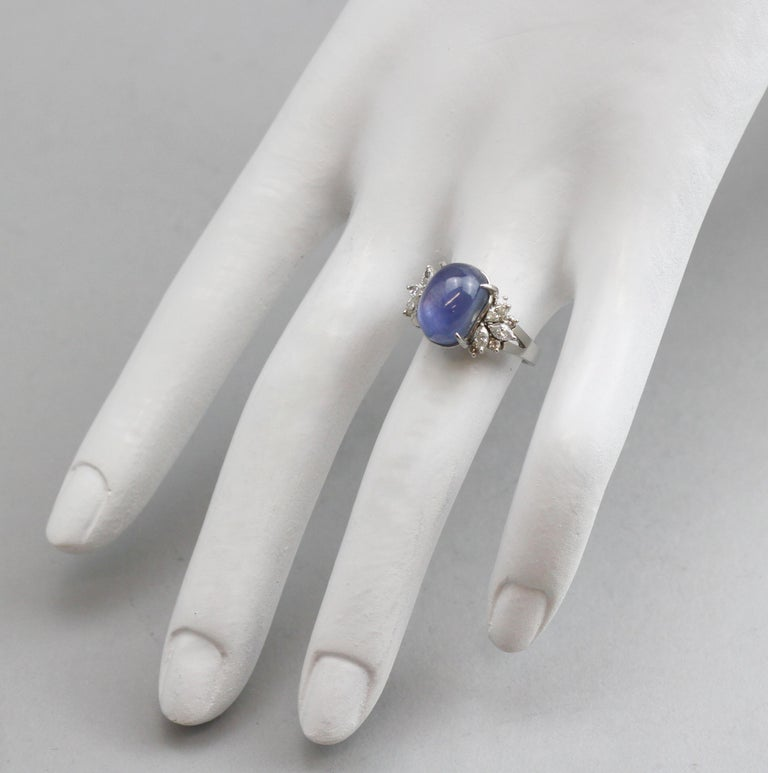 Ladies Platinum Cabochon Star Sapphire Ring with Diamonds For Sale 1
