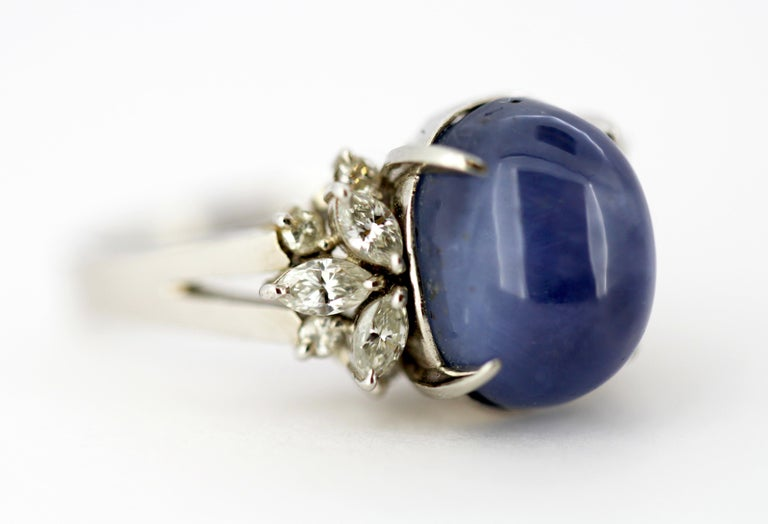 Ladies Platinum Cabochon Star Sapphire Ring with Diamonds For Sale 4
