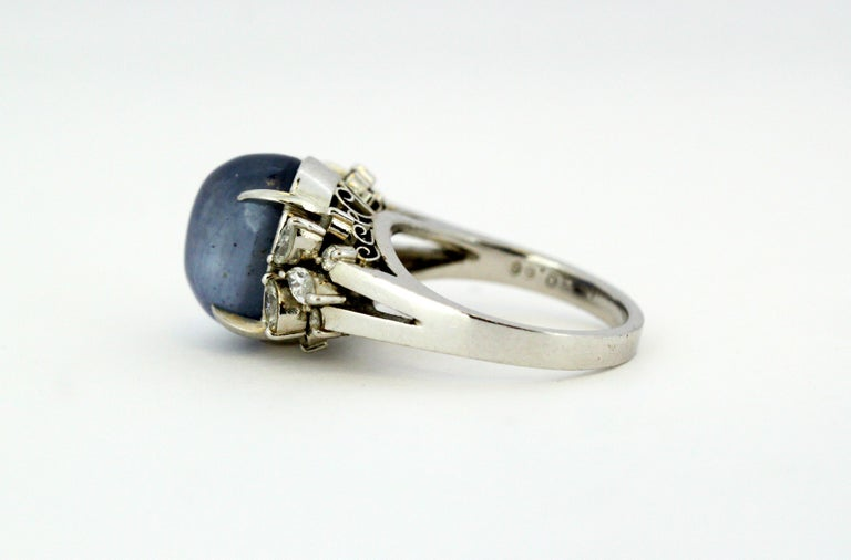 Ladies Platinum Cabochon Star Sapphire Ring with Diamonds For Sale 5
