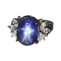 Ladies Platinum Cabochon Star Sapphire Ring with Diamonds
