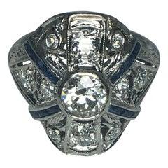 Ladies Platinum Diamond and Sapphire Estate Ring