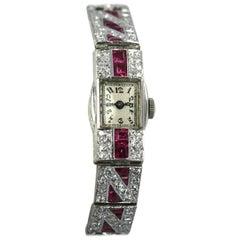 Ladies Platinum Diamond Ruby Art Deco Bracelet Wristwatch